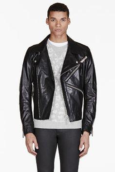 KENZO Black Logo Zip Leather Biker Jacket