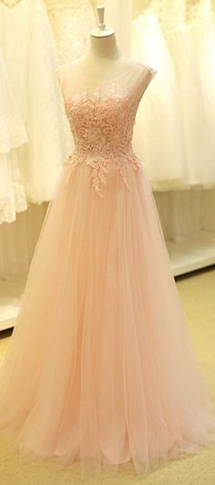 Light Pink Prom Dreess,Tulle Prom Dresses,Scoop Neck
