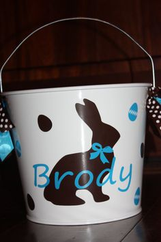 Easter Pail Bucket Chocolate Bunny with Blue Can by trendzbytwinz, $18.00