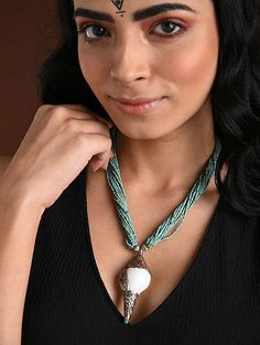 Buy The Stone Age Parampara Elevate your look with spectacular silver-tone stone-beaded jewelry for over-the-top statement Online at Jaypore.com Fashion Jewelry Necklaces, Beaded Jewelry, German Fashion, Shopping Coupons, Backpack Brands, Stone Age, Turquoise Necklace, Im Not Perfect, Coral