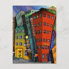 Traffic Signal Colours, Cartoon Building, Poster City, Corner Designs, City Art, Custom Posters, Postcard Size, Design Your Own, Custom Framing