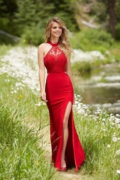 Red chiffon lace top halter slit long prom dresses, formal dresses red prom dresses 2017