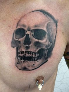 Realistic Chest Skull Tattoo by Fat Foogo