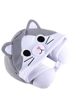 Catnaps aren't always easy for the non-feline amongst us, but ourkigurumi-inspired Tabby CatNeck Pillow is here to fix that! Made of soft polywith a button s