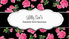 Black & Pink Roses Flowery Business Cards A girly pink and black floral business card with lovely pink roses against a black background.