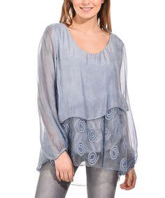 Another great find on #zulily! Indigo Blue Silk-Blend Hi-Low Top #zulilyfinds