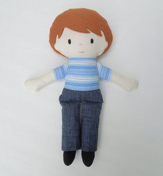Fabric Doll Rag Doll Cloth Doll Blue Jean Boy by rainbowrosedollco