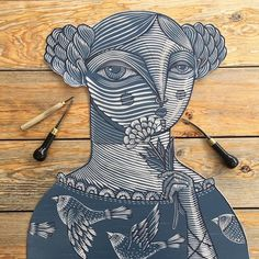 / image of a woman / linocut / by alejandro lopez / Gravure Illustration, Illustration Art, Illustrations, Linocut Prints, Art Prints, Block Prints, Gravure Photo, Lino Art, Stamp Carving