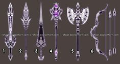 ExtraWeapon by Rofeal on DeviantArt Anime Weapons, Fantasy Weapons, Arte Fashion, Sword Design, Weapon Concept Art, Magic Art, Anime Outfits, Wands, Fantasy Art