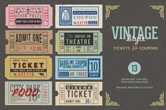 Check out Vintage Tickets & Coupons Bundle by MyCreativeLand on Creative Market Ticket Template, Frame Template, Carton Invitation, Ticket Design, Seamless Textures, Text Style, Coupon Design, Business Card Logo, Coupons