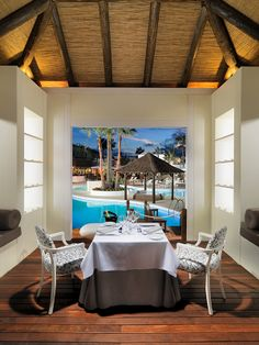 Private dinner by the pool in a romantic destination Most Romantic Places, Romantic Destinations, Romantic Dinners, Patio, Table Decorations, Outdoor Decor, Room, Furniture, Hotels