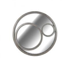 Industrial style Gear Wall Mirror in Weathered Steel