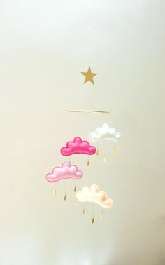 "Nursery cloud mobile "" WHITE NAOKO""  by The Butter Flying-Rain Cloud Mobile Nursery Children Decor"