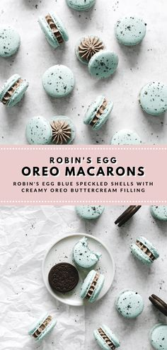 These dainty blue robin's egg oreo macarons are speckled with oreo crumbs and fi. - These dainty blue robin's egg oreo macarons are speckled with oreo crumbs and filled with a cream - Oreo Macarons, Macaroon Cookies, Making Macarons, French Macaroon Recipes, French Macaroons, Blue Macaroons, Powdered Food Coloring, Liquid Food Coloring, Oreo Flavors