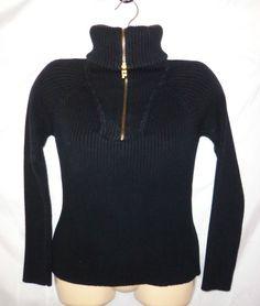 Ralph Lauren S Sweater Nautical Navy Black Sailor Collar/Turtle Neck Ribbed Zip #LaurenRalphLauren #12Zip