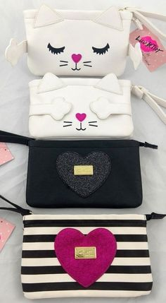 Luv Betsey Johnson Clutch Wristlet Wallet Kitty Cat Glitter Heart Striped - Belezza,animales , salud animal y mas Betsey Johnson, Glitter Wallpaper Iphone, Embroidery Bags, Purse Patterns, Girls Bags, Clutch, Cute Bags, Handmade Bags, Small Bags