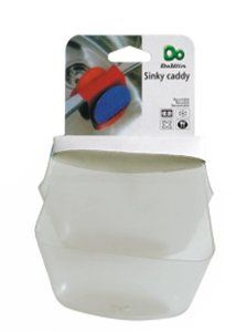 MaxiLock Sink Saddle Sponge Caddy Holder Pocket in Assorted Colors (Frost) by Maxilock. $1.75. Available is various transparent colors.. Made out of easy to clean plastic.. Fits most standard dual sinks.. Opening on bottom of the two pockets.. Keep kitchen sponges and scrubbers clean and contained with this Sinky Caddy. The caddy's two pockets securely straddle most standard kitchen double-sinks, keeping counter and behind-the-sink space clean and clear, and giving your spong...