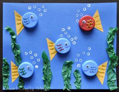 Bottle Cap Fish Use old bottle caps or milk caps to make an adorable ocean scene. Its a fun way to create using materials that might otherwise be thrown away. The post Bottle Cap Fish was featured on Fun Family Crafts. Kids Crafts, Animal Crafts For Kids, Family Crafts, Summer Crafts, Diy For Kids, Craft Projects, Arts And Crafts, Paper Crafts, Button Crafts For Kids
