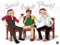 BTT Secret Santa: Cheers by Jotaku on DeviantArt Bad Touch Trio, Bad Friends, Secret Santa Gifts, Axis Powers, I Love Anime, Hetalia, Cheers, Hilarious, Deviantart