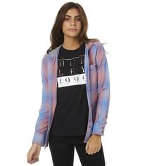 Hurley Wilson 3.0 Womens Long Sleeve Shirt Pink (80 AUD) ❤ liked on Polyvore featuring tops, fashion tops, pink, women, pink button up shirt, long sleeve jersey shirt, button up shirts, cotton shirts and long sleeve shirts