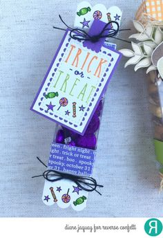 DIY Fall Treat box by Diane Jaquay. Reverse Confetti stamp sets: Treat Yo' Self and Treat Yo' Self. Confetti Cuts: Treat Tube Toppers and Lacy Scallop Frames. Other: Fright Night 6x6 paper pad. RC Cardstock: Cloud White, Lime Green, and Grape Soda. Halloween craft. Fall craft.