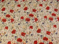 Brockhall Designs Poppy Tapestry Fabric - Ivory - Curtains and Upholstery - The Millshop Online #fabric