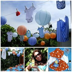 Love the idea of guests bringing items to hang on clothes line - backyard bbq shower
