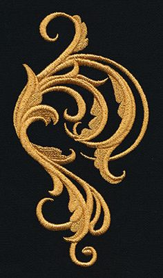 Embroider this swirling flourish design in rich golden thread (or any other color you like) to create fanciful garb, everyday fashions, and stunning decor! Couture Embroidery, Gold Embroidery, Hand Embroidery Designs, Embroidery Files, Embroidery Patterns, Crazy Quilting, Urban Threads, Gold Work, Embroidery Techniques