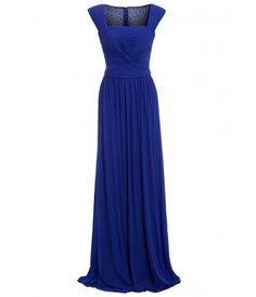 Dynasty London Exclusive Amy Pleat Detail Embellished Maxi Dress in Blue