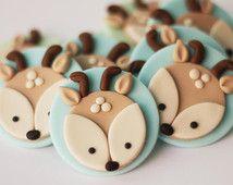 Fondant Deer Cupcake Toppers - Woodlands fondant cupcake topper set. Forest…
