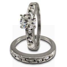 Classic Two Piece Engagement Ring Setting For Any  Diamond -  This wedding set has 0.25ct of round accent diamonds. The engagement ring can accommodate a center diamond of any shape and size.