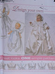 773 Simplicity 7488 Babies Christening Dress Gown Coat Bonnet Baptism Gown sz NB S M L lb Design Your Own 6 Great Looks Sewing Pattern by on Etsy Childrens Sewing Patterns, Baby Patterns, Vintage Sewing Patterns, Baby Christening Dress, Baptism Gown, Baby Bonnets, Heirloom Sewing, Simplicity Patterns, Couture