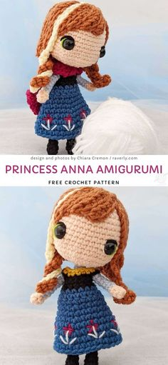 """Princess Anna Amigurumi Free Crochet Pattern, The Cutest Crochet Amigurumi Dolls. Anna is one of the main characters in the movie """"Frozen"""", but I'm sure you already know that! Crochet this amazing. Crochet Disney, Disney Crochet Patterns, Frozen Crochet, Doll Patterns Free, Mini Amigurumi, Doll Amigurumi Free Pattern, Crochet Pattern Free, Amigurumi Doll, Diy Crochet Amigurumi"""