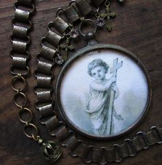 Antique religious necklace bubble glass pendant baby Jesus Victorian book chain open back crystal one of a kind jewelry assemblage by madonnaenchanted on Etsy