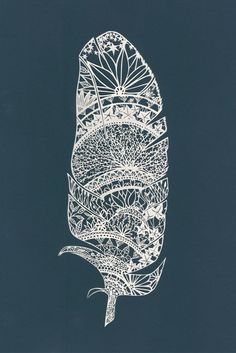 Feather Paper-Cut Art Print 11 X 14 by TheThinks on Etsy