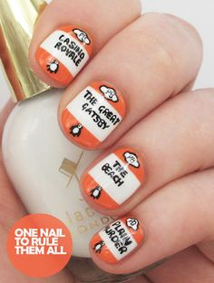 Penguin Classics Book Covers nail art: three color colour design: white base (Jacava - Mont Blanc) with orange stripes( Essie - Fear & Desire). Details done with black and white: Virginia Woolf - A Room of One's Own, James Bond Casino Royal, F. Scott Fitzgerald - The Great Gatsby, The Beach and Plain Murder. | One Nail To Rule Them All - Digital Dozen Challenge #OneNailToRuleThemAll #unique #booklovers #nerdy #geeky #summer #reading #freehand #advanced