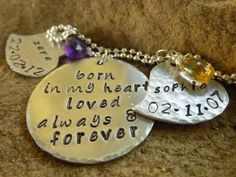 Adoption, Foster Parent, Hand Stamped Jewelry, Personalized Necklace, Unique Mom Gift, Miscarriage, Mixed Metal, Birthstone, Wire Wrapped