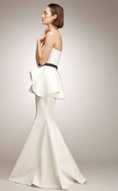 Gown With Peplum Black And White Wedding Dress Chanel Theme Ideas