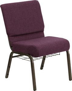 HERCULES Series 21'' Extra Wide Plum Fabric Church Chair with 4'' Thick Seat,Communion Cup Book Rack - Gold Vein Frame, FD-CH0221-4-GV-005-BAS-GG by Flash Furniture | BizChair.com
