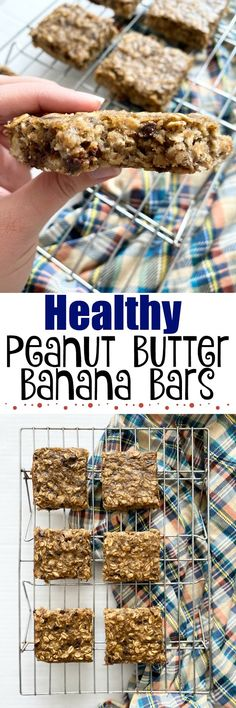 Healthy Peanut Butter Banana Bars – Healthier Dessert Recipes – Home Recippe Healthy Dessert Recipes, Easy Desserts, Healthy Snacks, Eating Healthy, Delicious Recipes, Superfood Recipes, Bar Recipes, Skinny Recipes, Baking Recipes