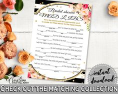 Flower Bouquet Black Stripes Bridal Shower Mad Libs Game in Black And Gold, noun, classic shower, party theme, customizable files - QMK20 #bridalshower #bride-to-be #bridetobe