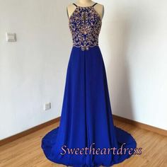 Cute royal blue chiffon long prom dress with beautiful top details, ball gown, prom dress 2016 #coniefox #2016prom