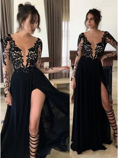 Buy Sexy Round Neck Long Sleeves Black Prom Dress with Lace Legslit Black, from for $344.99 only in Main Website.