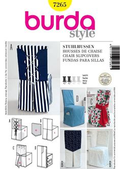 Burda 7265 from Burda patterns is a Slipcovers sewing pattern Burda Patterns, Bag Patterns To Sew, Sewing Patterns, Dining Chair Covers, Furniture Covers, Bed Cover Sets, Home Sew, Slipcovers For Chairs, Diy Chair