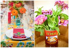 Mexican themed wedding = bright wedding tablescape