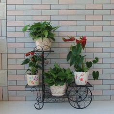 Black Bicycle Large 3 Pots Plant Planter Herbs Flower Stand Stands Display Table Stage Metal: Amazon.co.uk: Garden & Outdoors