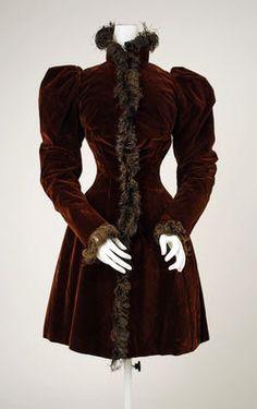A rich chocolate brown velvet jacket, ca. 1894