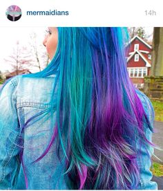 I am so in love with this hair!! Teal, blue, fuschia, and purple! Perfect rainbow look! Unicorns and mermaids