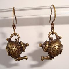 Shoply.com -Cute Antique Gold Teapot Earrings. Only C$3.95