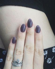 Almond nails. #almondnails #grey #purple #cute